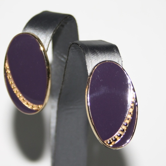 Beautiful gold and purple vintage earrings